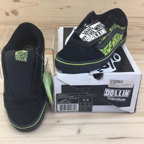 bc951bd2c419b7 Vans Kids No Skool 2 Black Green Suede Size 5.5
